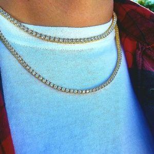 14k Gold PVD Plated Lab Diamond Tennis Chain set